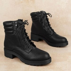 NEW MIA Morrigan Faux Leather Combat Boot
